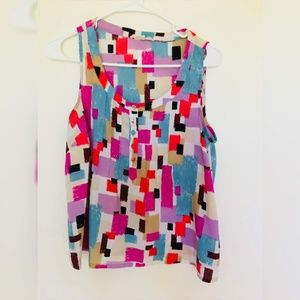Forever 21 Bright Geometric Print Sleeveless Top